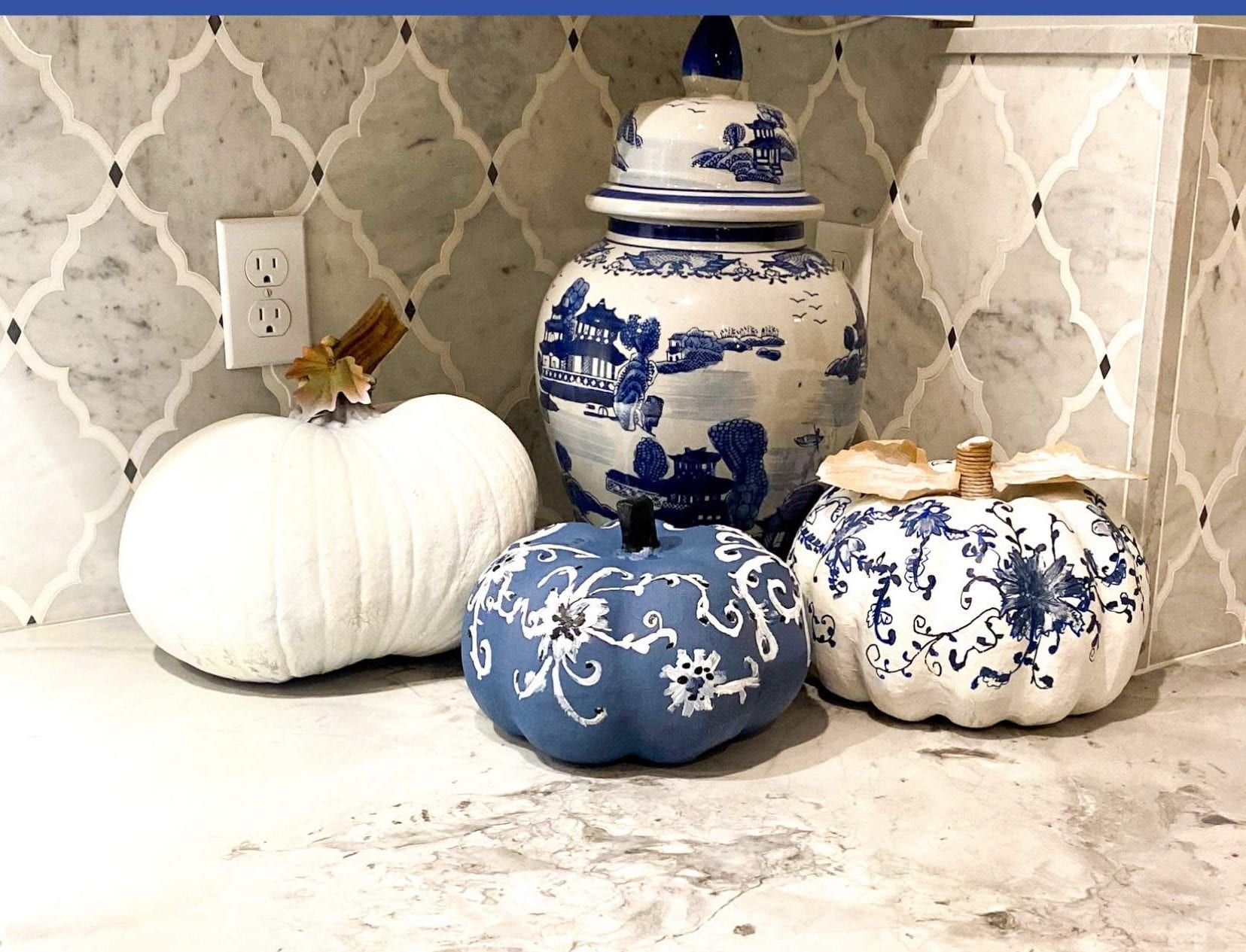 How To Paint Pumpkins With An Chinoiserie Design- Fall Decor