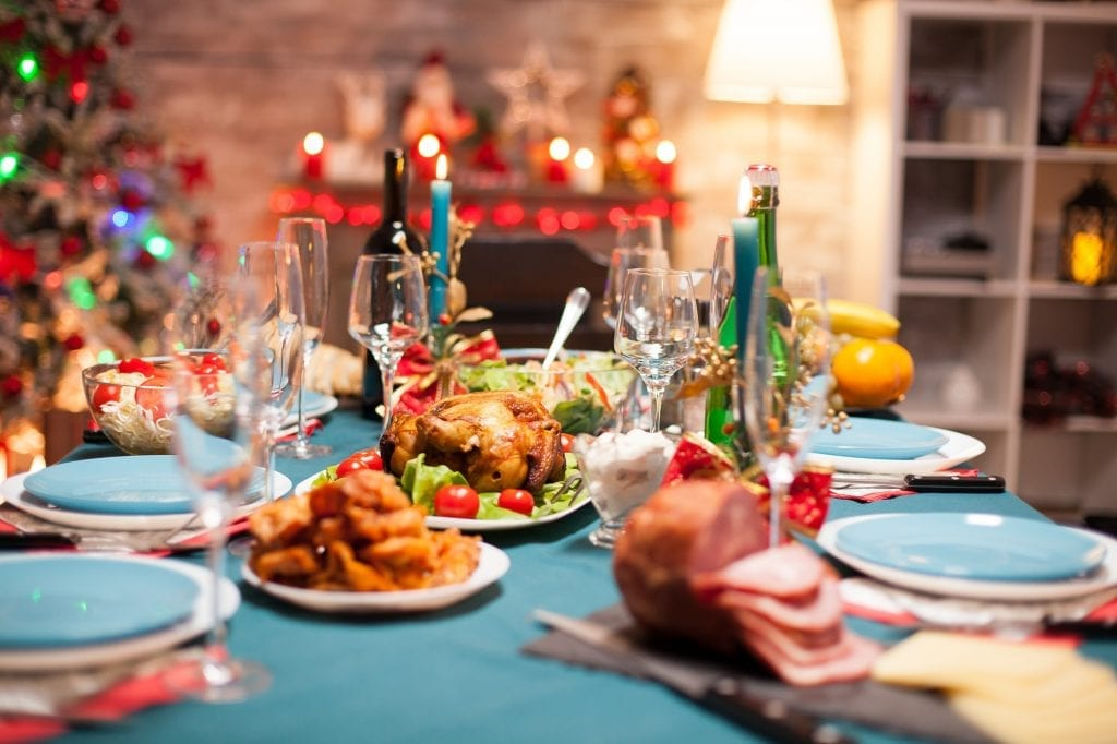 Christmas celebration with delicious food