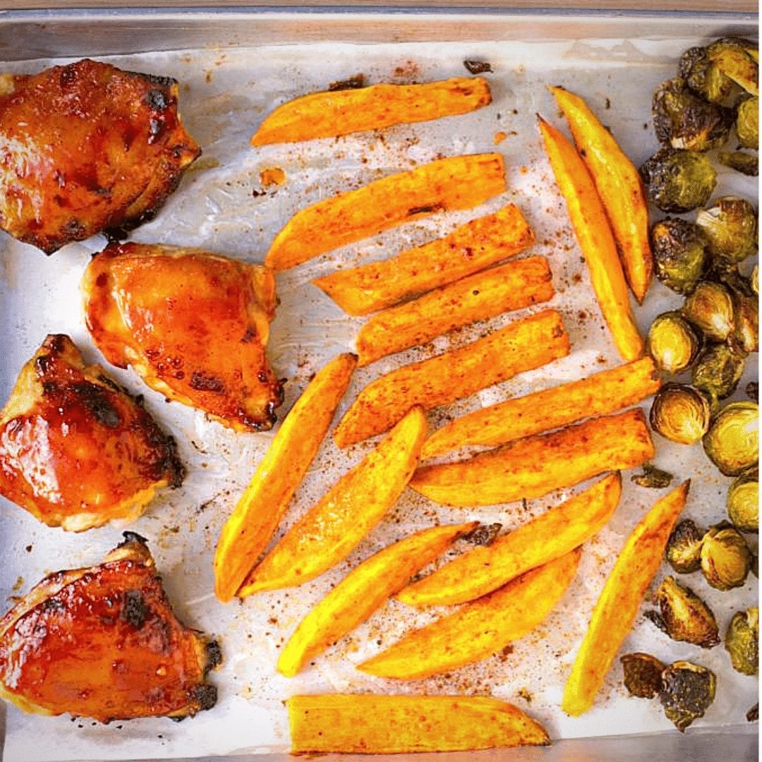 Easy Sheet Pan Roasted Chicken-Brussels Sprouts Recipe