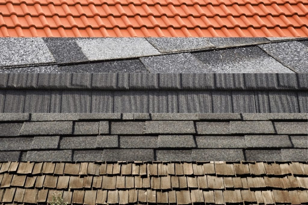 various roof types and colors