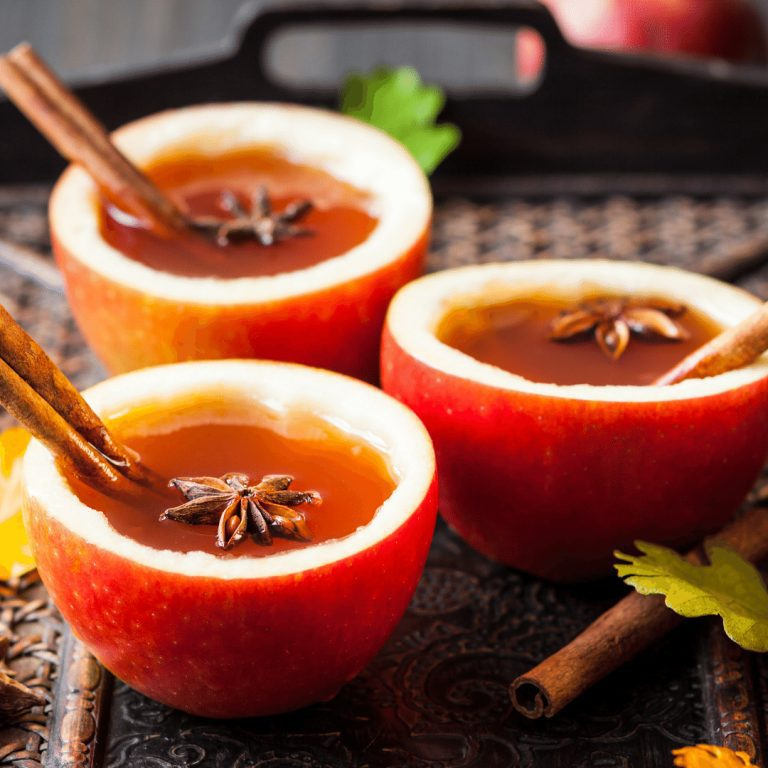 Hot Cider In Apple Cups